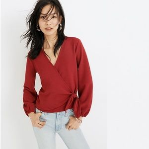 Madewell Texture & Thread Red Crepe Wrap Top 2X
